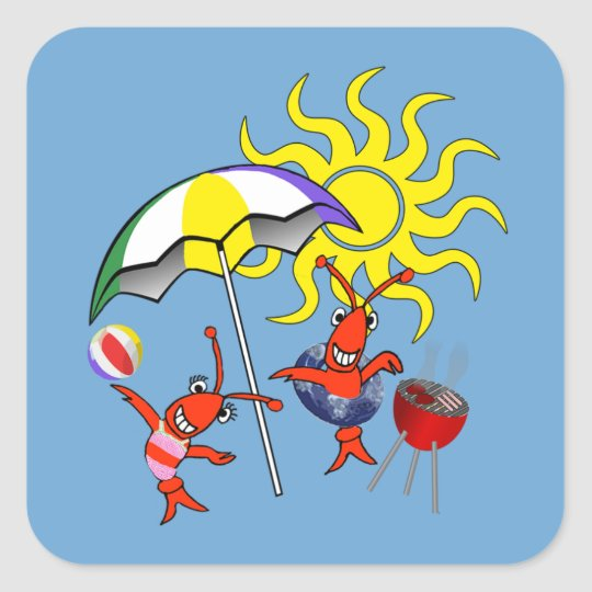 Cute Crawish Lobster Beach Square Sticker