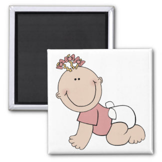 Cute Crawling Baby 2 Inch Square Magnet