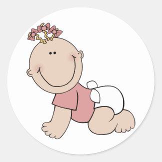 Cute Crawling Baby Classic Round Sticker