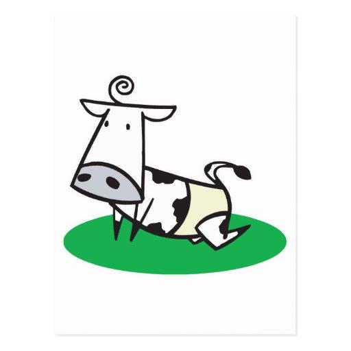 cute crawling baby cow postcard
