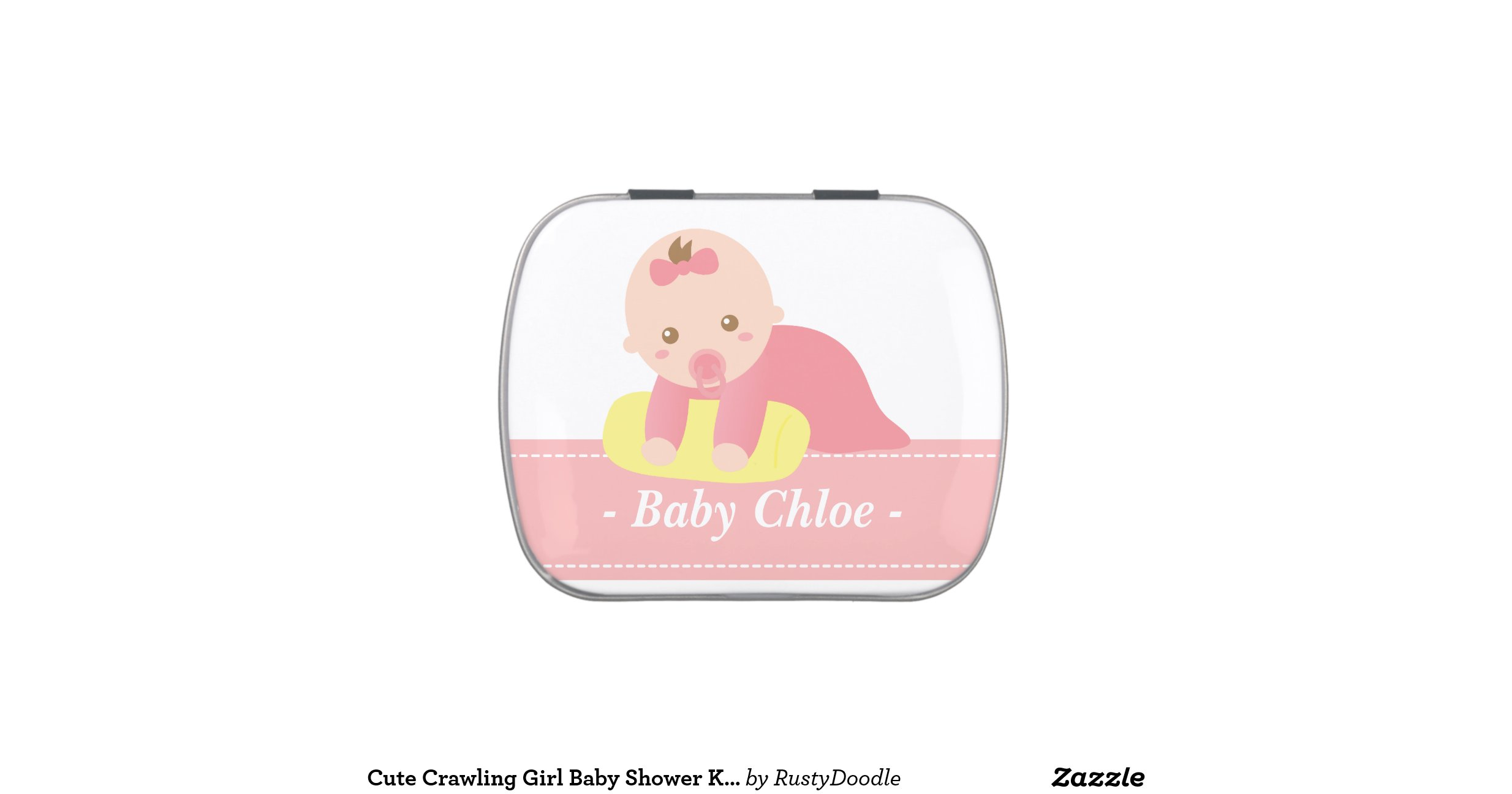 cute crawling girl baby shower keepsake jelly belly tins zazzle