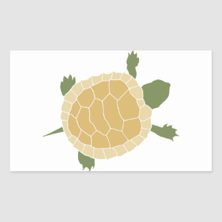 Cute Crawling Little Turtle Tortoise Rectangle Stickers