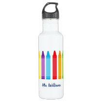 Cute Crayon Elementary Teacher Custom Stainless Steel Water Bottle