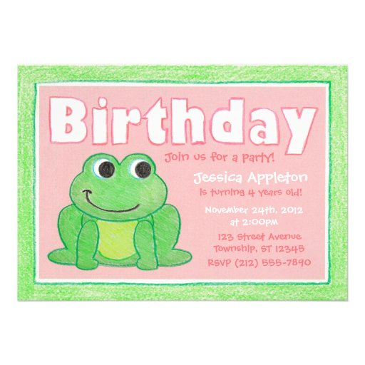 Cute Crayon Frog Little Girl's Birthday Invitation