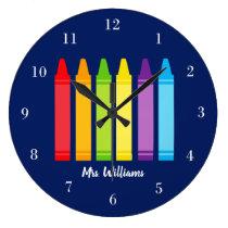 Cute Crayon Teacher Custom Classroom Large Clock