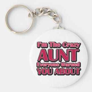 Cute Crazy Aunt Saying Basic Round Button Keychain