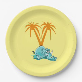 Cute Crazy Blue Elephant Laying Under Palm Trees Paper Plate