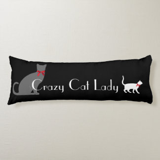 Cute Crazy Cat Lady, Gray White Cats on Black Body Pillow