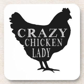 Cute Crazy Chicken Lady Coasters