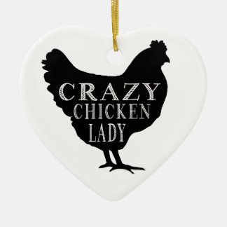 Cute Crazy Chicken Lady Double-Sided Heart Ceramic Christmas Ornament