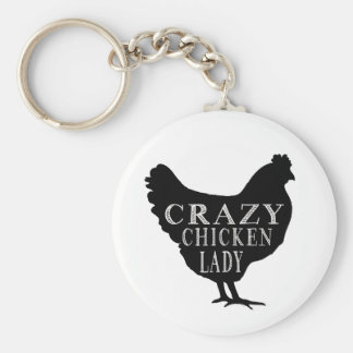 Cute Crazy Chicken Lady Keychain