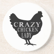 Cute Crazy Chicken Lady Sandstone Coaster