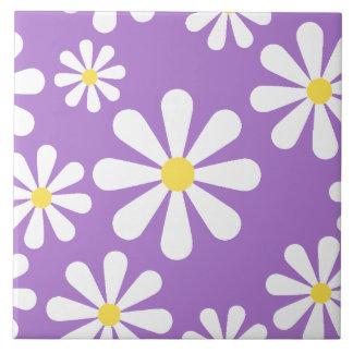 Cute Crazy Daisy Purple White Yellow Flowers Ceramic Tile