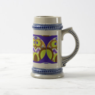 Cute Crazy Owl Colorful Chevron Blue Yellow Brown Beer Stein