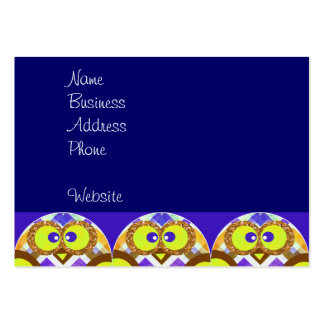 Cute Crazy Owl Colorful Chevron Blue Yellow Brown Business Card Template