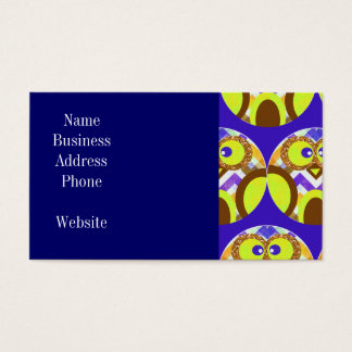 Cute Crazy Owl Colorful Chevron Blue Yellow Brown Business Card
