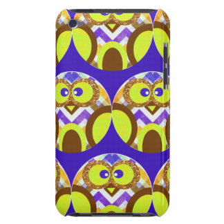 Cute Crazy Owl Colorful Chevron Blue Yellow Brown Barely There iPod Cases