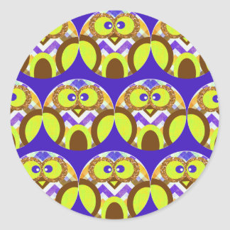 Cute Crazy Owl Colorful Chevron Blue Yellow Brown Classic Round Sticker