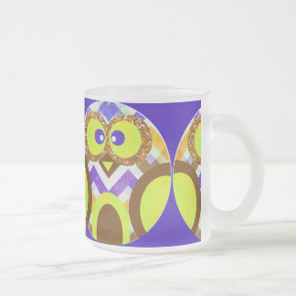 Cute Crazy Owl Colorful Chevron Blue Yellow Brown Frosted Glass Coffee Mug