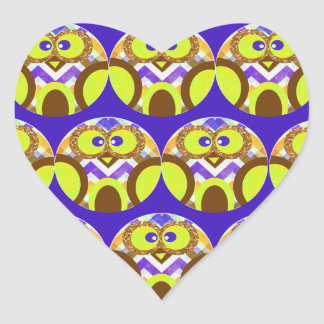 Cute Crazy Owl Colorful Chevron Blue Yellow Brown Heart Sticker