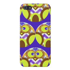 Cute Crazy Owl Colorful Chevron Blue Yellow Brown iPhone 5 Cases