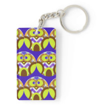 Cute Crazy Owl Colorful Chevron Blue Yellow Brown Keychain
