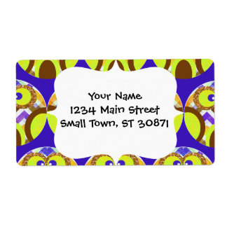 Cute Crazy Owl Colorful Chevron Blue Yellow Brown Label