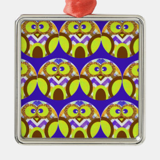 Cute Crazy Owl Colorful Chevron Blue Yellow Brown Metal Ornament