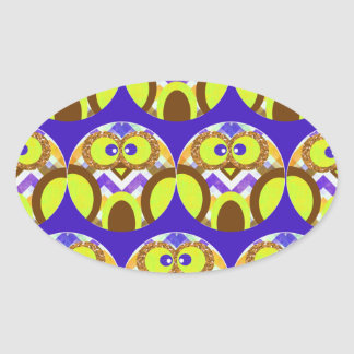 Cute Crazy Owl Colorful Chevron Blue Yellow Brown Oval Sticker