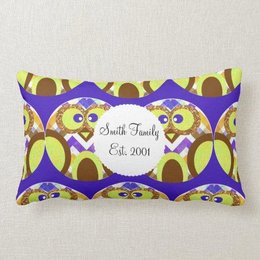 Cute Crazy Owl Colorful Chevron Blue Yellow Brown Pillows