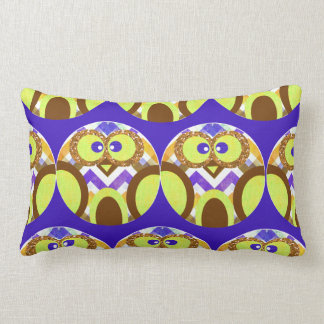 Cute Crazy Owl Colorful Chevron Blue Yellow Brown Pillow