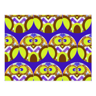 Cute Crazy Owl Colorful Chevron Blue Yellow Brown Postcard