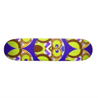 Cute Crazy Owl Colorful Chevron Blue Yellow Brown Skate Board Decks