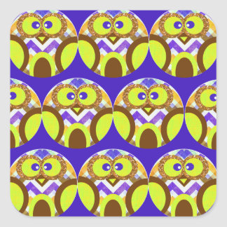 Cute Crazy Owl Colorful Chevron Blue Yellow Brown Square Sticker