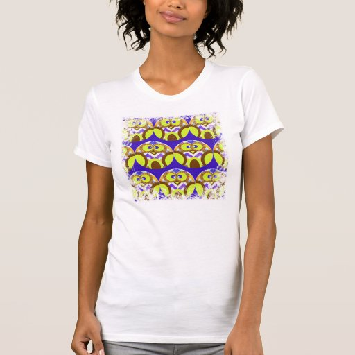 Cute Crazy Owl Colorful Chevron Blue Yellow Brown T Shirts