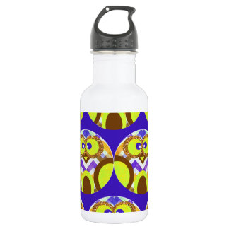 Cute Crazy Owl Colorful Chevron Blue Yellow Brown Water Bottle