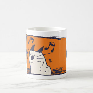 Cute Cream and Orange Music Cat Mug