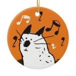 Cute Cream and Orange Music Cat Ornament (Circle)