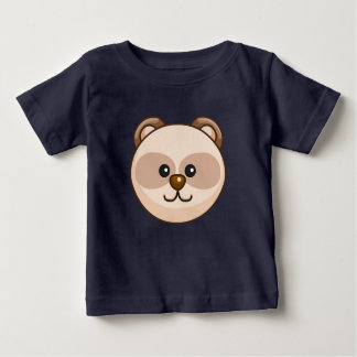 Cute Cream Bear Cartoon Navy Blue Custom Baby Baby T-Shirt