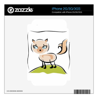 Cute cream colored cat decal for iPhone 2G