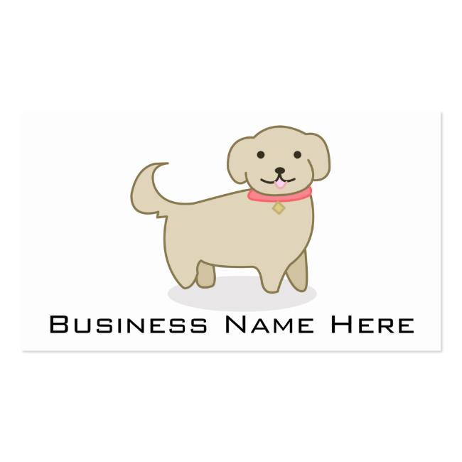 Cute Cream Dog Illustration, Canine Business Card