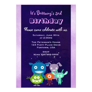 Cute Creatures Child's Birthday Party Card