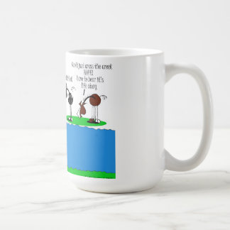 Cute Creek Crossing Horse Cartoon Coffee Mug