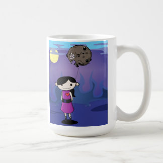 Cute creepy cartoon girl coffee mug