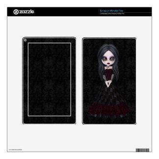 Cute & Creepy Goth Girl Black Kindle Skin
