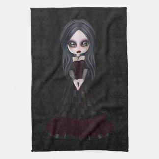 Cute & Creepy Goth Girl Black Kitchen Towel
