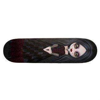 Cute & Creepy Little Goth Girl Black Skateboard zazzle_skateboard