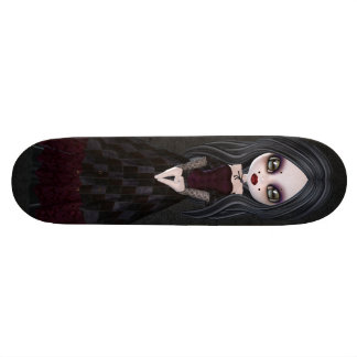 Cute & Creepy Little Goth Girl Black Skateboard