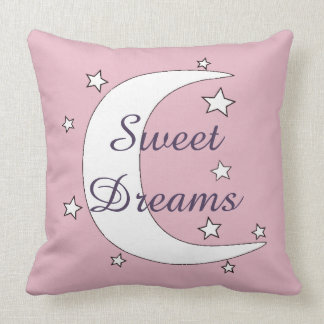 Cute Crescent Moon and Stars Sweet Dreams Pillow