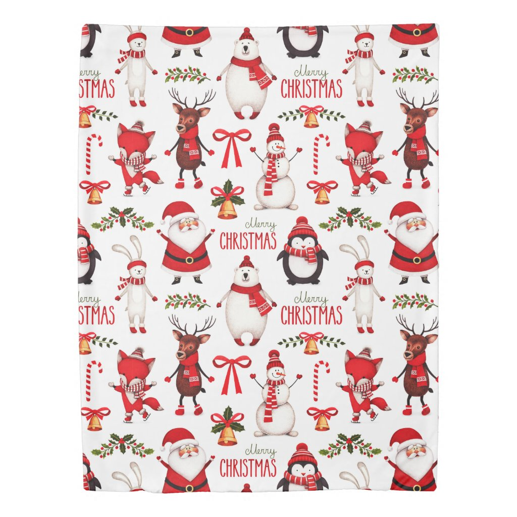 Cute Cristmas Mix Twin Size Duvet Cover